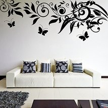 (94'' x 36'') Vinyl Wall Decal Beautiful Sprig Pattern with Leafs & Butterfli... - $97.86
