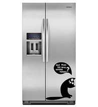 ( 12'' x 9'') Vinyl Fridge Decal Cute Hungry Cat / Kitty with Quote Asking to... - $12.05