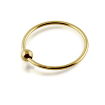 9ct Solid Yellow Gold 22 Gauge ( 0.6MM ) Classic BCR Bead Nose Ring Nose... - $10.29