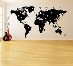 ( 100'' X 55'') Vinyl Wall Decal World Map with Google Dots / Earth Atlas Shi... - $138.06