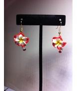 Red Poly Clay Flower Earrings Hook Earrings/Red Flower gold plate hook p... - $9.00