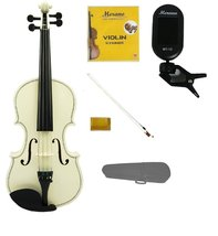 1/16 Size White Violin,Case, White Stick Bow+Rosin+2 Sets Strings+Clip O... - $55.00