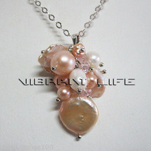 4-15mm White Peach Pink Freshwater Pearl Pendant P1S AC - $10.36