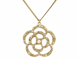 AUTHENTIC CHANEL Gold Crystal Faux Pearl Large Camellia Flower Pendant N... - $629.99