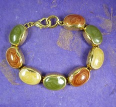 Beautiful Enamel Bracelet semiprecious style ladies jewelry gold yellow ... - $25.00