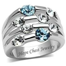 SILVER TONE AQUAMARINE BLUE & CLEAR CRYSTAL WIDE BAND FASHION RING SIZE ... - $16.64