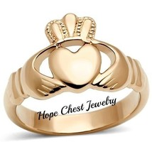 Rose Gold Tone Stainless Steel Irish Claddagh Friendship Ring - SIZE 5 - 10 - $13.99