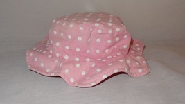 Girl Sunhat Hat Pink White Polka Dots Ruffle 2-3T Chin Strap Faded Toddler - $15.78