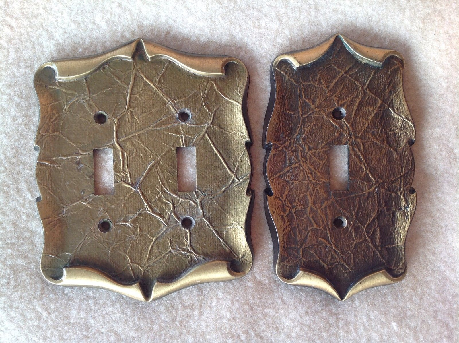 Vintage Brass Amerock Carriage House Double And Single Switchplate Cover - $19.40