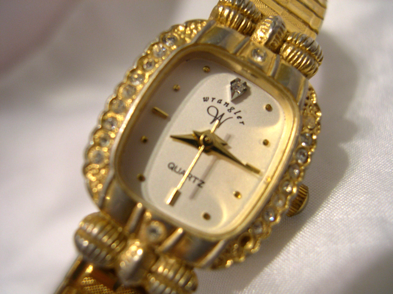 Primary image for L36, Wrangler, Gold Tone Ladies Watch, White Faced, Crystals, Flex Band, w/b