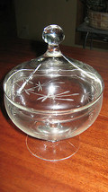 ETCHED COVERED CANDY DISH GLASS JAR - $4.95