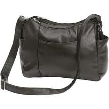 Black Solid Lambskin Leather Purse Cellphone Holder Handbag Shoulder Str... - $22.99