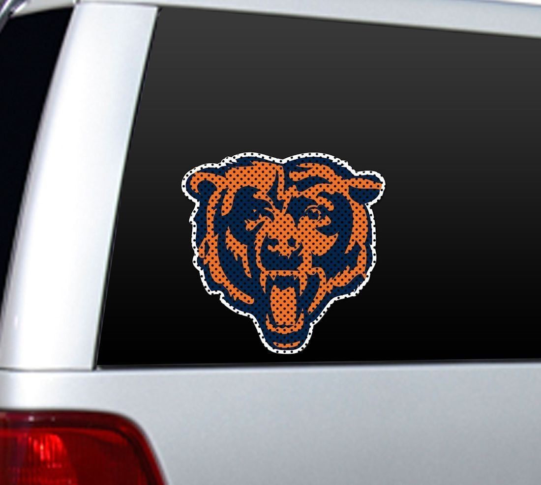 "BIG 12"" CHICAGO BEARS CAR HOME PERFORATED WINDOW FILM DECAL NFL FOOTBALL"