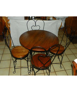 Oak & Black Iron Ice Cream Heart Shaped Dinette Set with Chairs - $599.00
