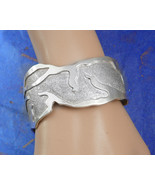Signed Sterling Large Cuff bracelet Taxco Wide Cuff with relief Mexico m... - $395.00