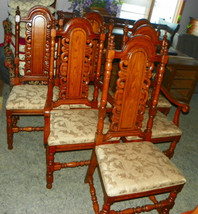 Set of 6 Solid Oak Carved Dinette Chairs by Link Taylor - $1,499.00