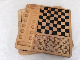 Vtg Wooden Board Games By Cardinal Ind. Chess Backgammon Parchisi Dominoes More - $56.09