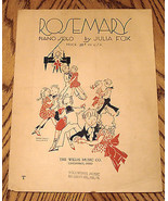 VINTAGE Collectible SHEET MUSIC ROSEMARY Piano Solo by JULIA FOX Willis ... - $5.89