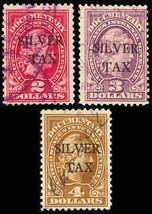 RG14-16, Three Used Silver Tax Stamps Cat $100.00 - Stuart Katz - $70.00