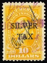RG18, Used $10 Silver Tax Stamp in Yellow Cat $27.50 - Stuart Katz - $20.00