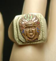 Old Pawn Ring Big UNUSUAL Indian Vintage Mens Native American silver ena... - $245.00