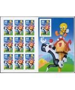 3205, 32¢ Sylvester and Tweety Sheet MNH 10th Stamp Imperforate - Stuart... - $9.50