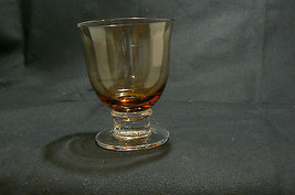 """Vintage Lovely Amber/Clear Glass Set of Four Highball Glasses 4 5/8 """" High - $19.79"""