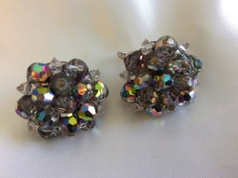 VTG Laguna Purple Borealis Crystal beads Cluster silver tone clip on Earrings - $64.35