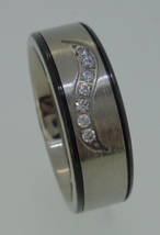 Titatium Ring - brushed center with cubic zirconia's - $25.00