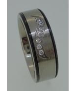 Titatium Ring - brushed center with cubic zirconia's - $25.00