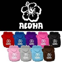 ALOHA Hibiscus Flower Dog Hoodie * Hawaiian Hooded Pet Shirt Hawaii Puppy - €14,05 EUR+