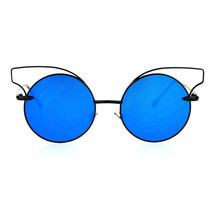Womens Fashion Sunglasses Round Circle Cateye Thin Metal Frame UV 400 - £9.08 GBP