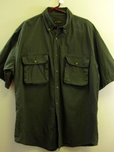 Woolrich Shirt Large Green Utility Short Sleeve Button Down L Mens  - $39.99