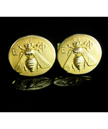 Epsilon Phi Cufflinks FLY Vintage Fraternal Gold insect fraternity Birth... - $125.00