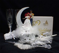 Disney Little Mermaid Prince Fairytale Wedding Cake Topper LOT Glasses  Server - $207.80