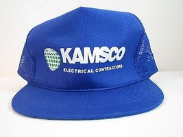 VINTAGE NEW KAMSCO ELECTRICAL HAT. BLUE, Adjustable Trucker Style. MOD S... - $7.47