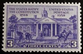 1938 3c Constitution Ratification, 150th Anniversary Scott 835 Mint F/VF NH - $1.47