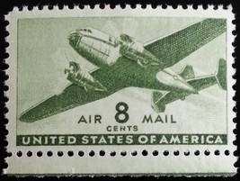 1944 8c Twin-Motored Transport Plane, Olive Green Scott C26 Mint F/VF NH - $1.43