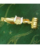 Horned Mokanna Masonic tie Clip Gavel gold red enamel fraternal mens gif... - $95.00