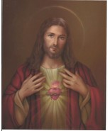"Catholic Print Picture SACRED HEART of JESUS 8x10"" ready to be framed - $13.32"