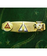 Unusual Masonic tie Clip In Hoc SIGNO Vinces gold black enamel fraternal... - $95.00
