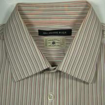 JOHN VARVATOS 16 Reg Burgundy Light Brown Stripe Shirt RARE - $19.99