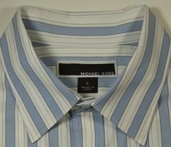 MICHAEL KORS Lg Rich Blue White Stripe Dress Shirt RARE - €60,11 EUR