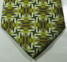 JHANE BARNES Rich Olive Green Cream Geometric Tie 100% Silk - $29.99