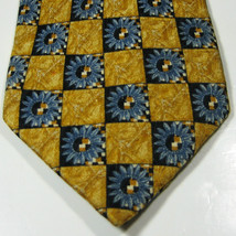 Ermenegenldo Zegna Rich Gold With Blue Flowers   Rare Tie Exc Italy - $99.99