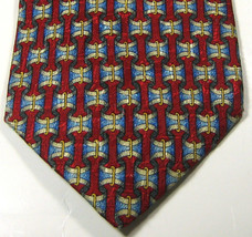 ERMENGENLIDO ZEGNA Red with Blue Gold Gray Links Chains Tie  100% Silk RARE - $29.99