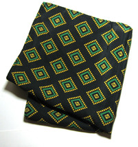 Black Green Yellow Pocket Square Handkerchief Pochette Silk RARE - $99.99