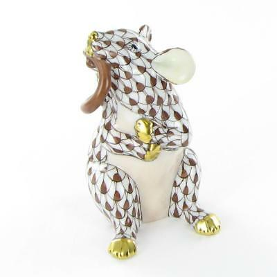 Herend Mouse w/ Tail in Mouth Chocolate Fishnet Hungary Porcelain VHBR215521 New