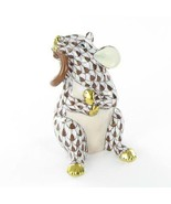 Herend Mouse w/ Tail in Mouth Chocolate Fishnet Hungary Porcelain VHBR21... - $194.00