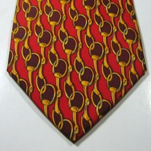Brooks Brothers Makers Gold Chains Burgundy On Red Tie Euc 100% Silk - $29.99